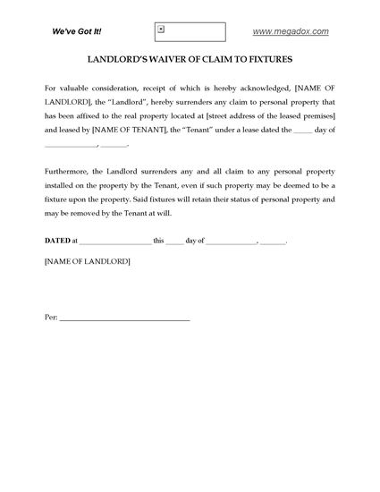 Picture of Landlord's Waiver of Claim to Fixtures - Residential