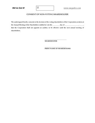 Picture of Alberta Consent of Non-Voting Shareholder to Waive Audit Requirement