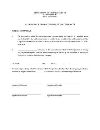 Picture of Directors Resolution to Adopt Pre-Incorporation Contracts | Canada