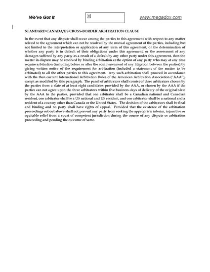 Picture of Cross-Border Arbitration Clause for US - Canadian Contracts