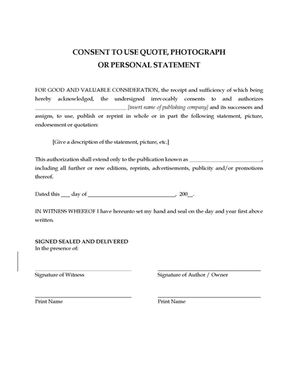 Picture of Consent to Use Quote, Photograph or Personal Statement