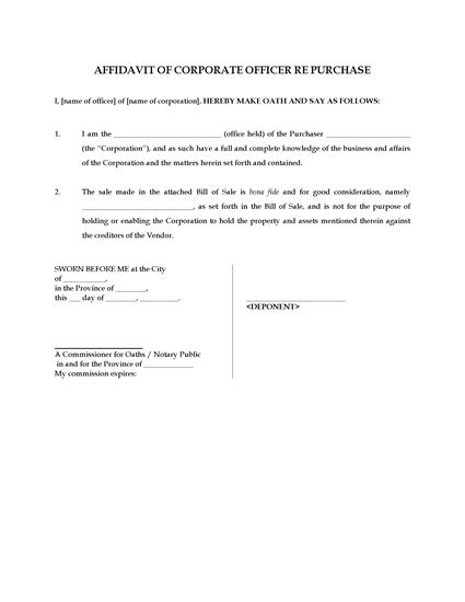 Picture of Affidavit of Bona Fide Purchase of Assets   Canada