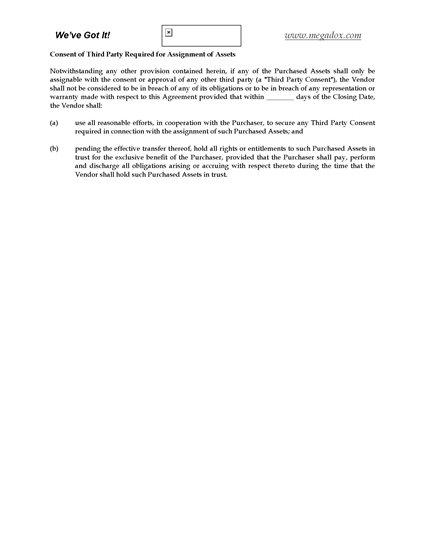 Picture of Third Party Consent Clause for Asset Purchase Agreement