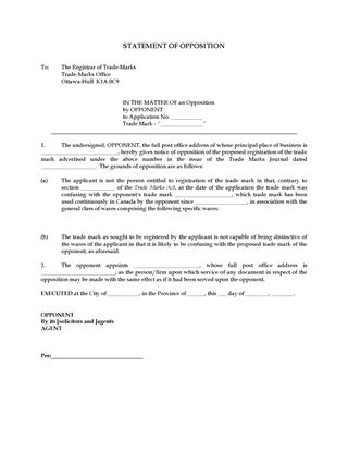 Picture of Statement of Opposition to Trademark Registration | Canada
