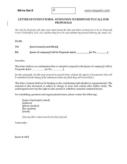 Picture of Letter of Intent to Respond to Call for Proposals