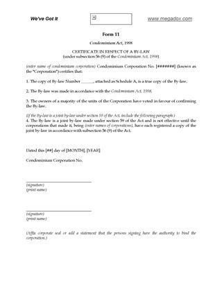 Picture of Ontario Certificate re Condominium Bylaw
