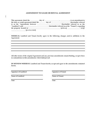 Picture of Amendment to Lease or Rental Agreement