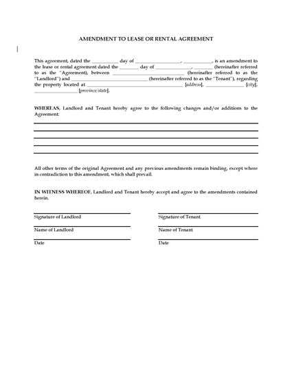 Amendment To Lease Or Rental Agreement Legal Forms And Business
