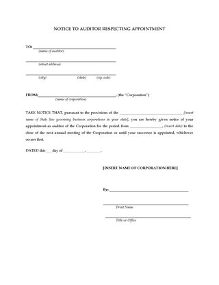 Picture of Notice Appointing Auditor of Corporation (USA)