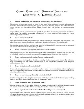 Picture of Guidelines to Determine Independent Contractor or Employee Status | Canada