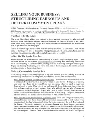 Picture of Selling Your Business - Structuring Earnouts and Deferred Payment Plans