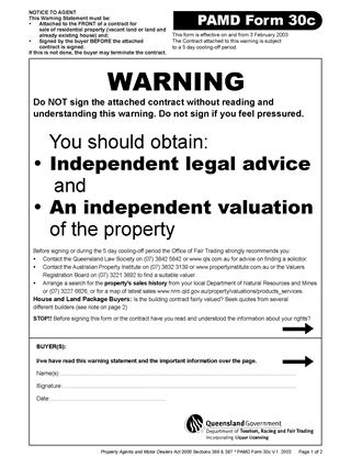 Picture of Queensland PAMD Form 30c Contract Warning