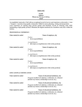 Picture of Resume for Chef