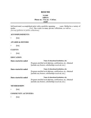 Picture of Resume Form for an Artist