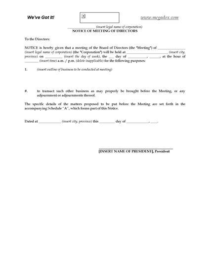 Picture of Notice of Directors Meeting | Canada