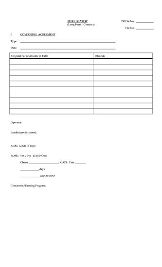 Picture of Alberta Oil and Gas Title Review Form