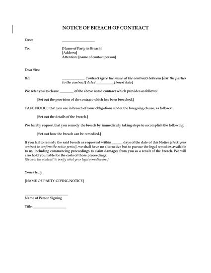 Picture of Notice of Breach of Contract