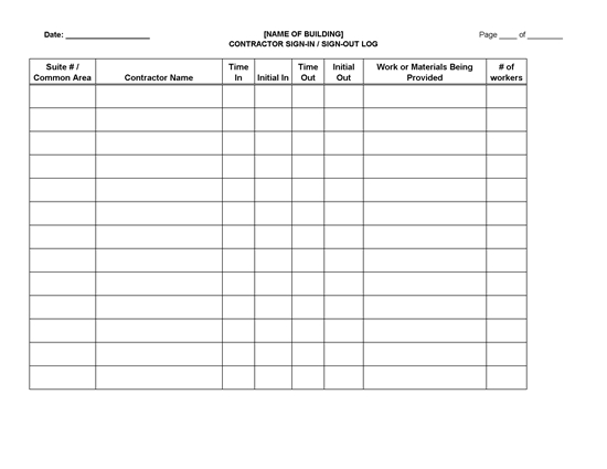 Picture of Contractor Sign-in Sign-out Log Sheet