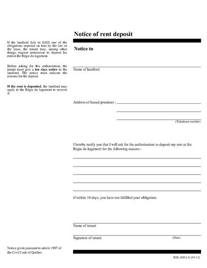 Picture of Quebec Notice of Rent Deposit