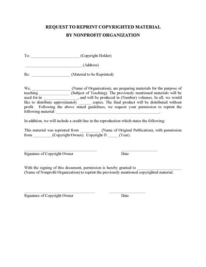 Picture of Nonprofit Request to Reprint Copyrighted Material