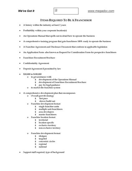 Picture of Checklist of Franchisor Requirements