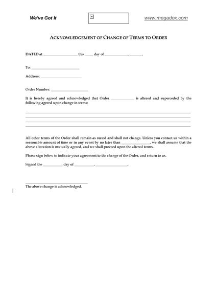 Picture of Acknowledgement of Change to Purchase Order