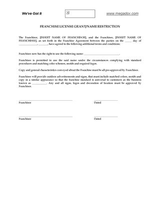 Picture of Franchise License Grant and Name Restriction