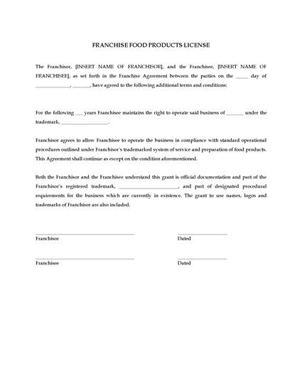 Picture of Franchise Food Products License