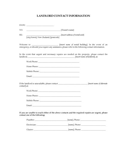 Picture of Landlord Contact Information Sheet | New Zealand