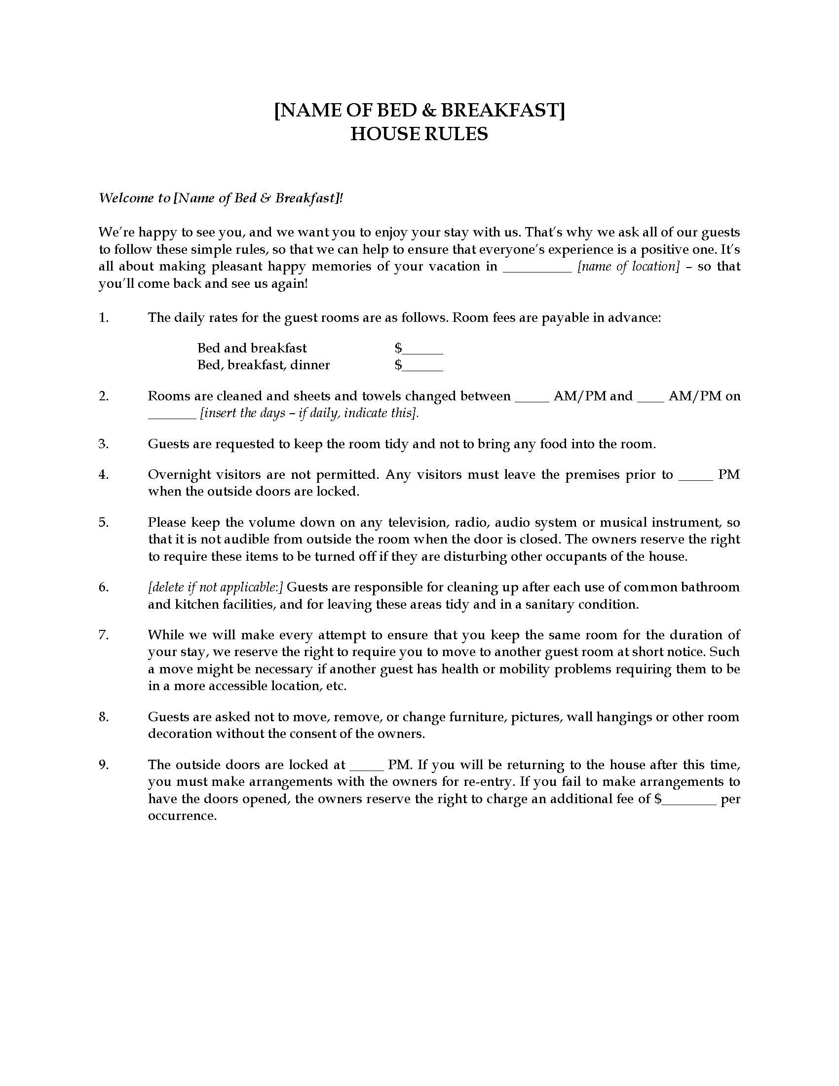 Bed and breakfast house guest rules legal forms and for Guest house business plan template