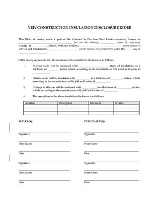 Picture of Illinois New Construction Insulation Disclosure Rider