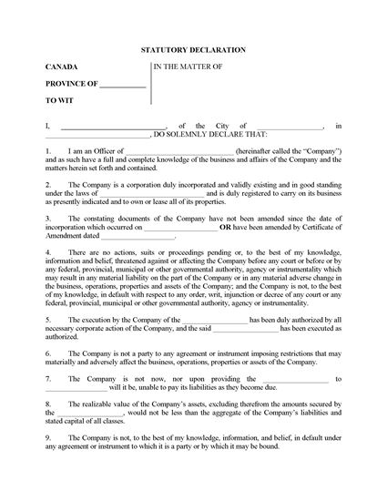 Picture of Declaration of Corporate Solvency | Canada