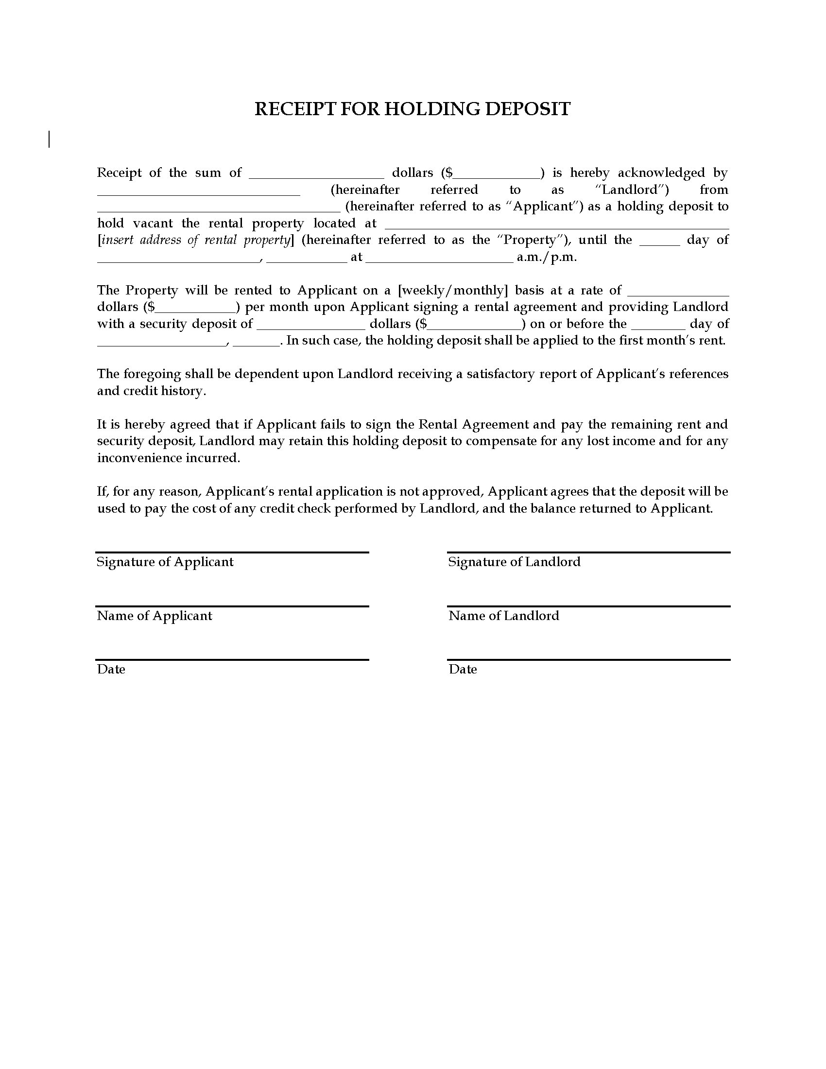 Receipt for Holding Deposit on Rental Property | Legal Forms and ...