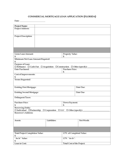 Picture of Florida Commercial Mortgage Loan Application
