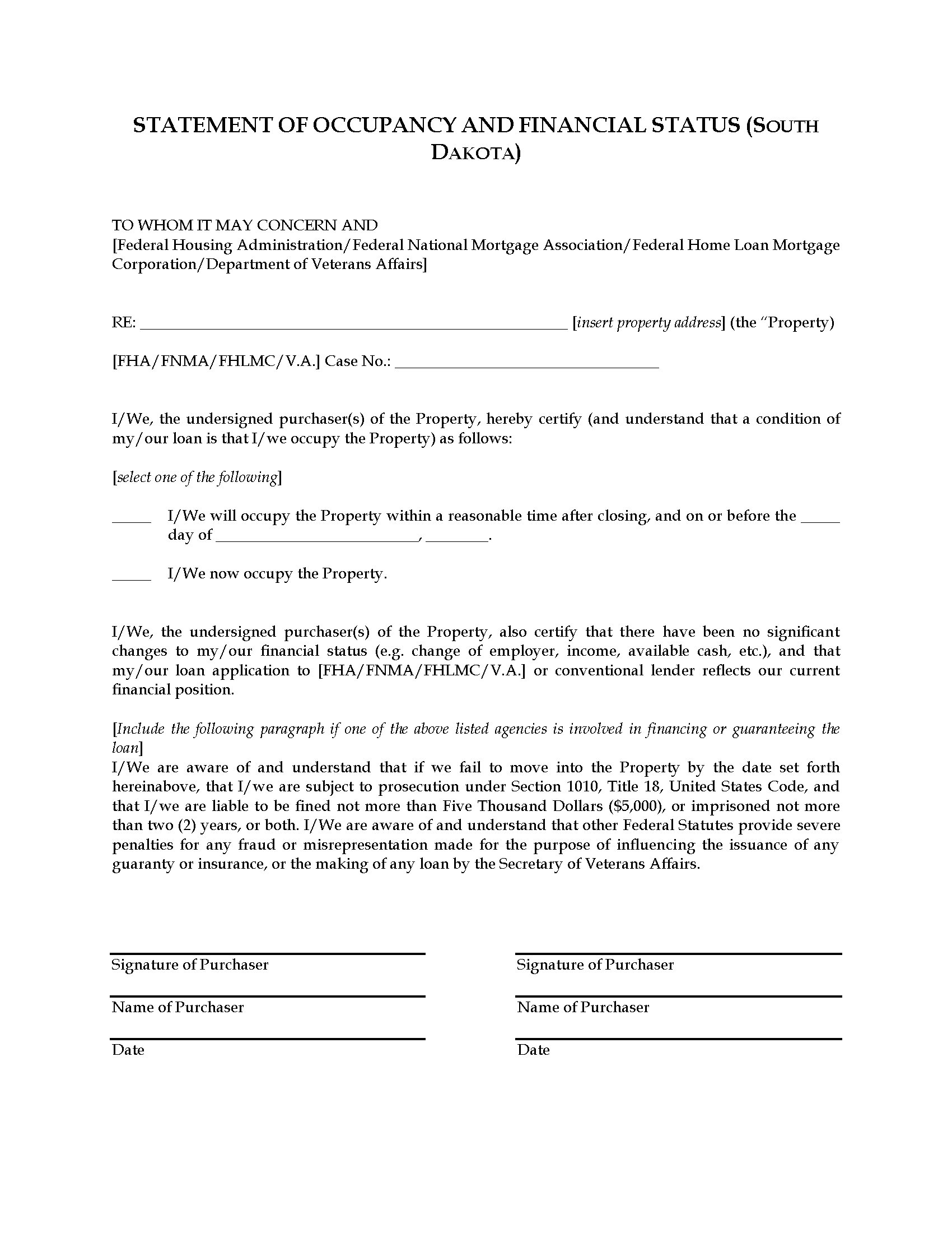 South Dakota Statement of Occupancy | Legal Forms and