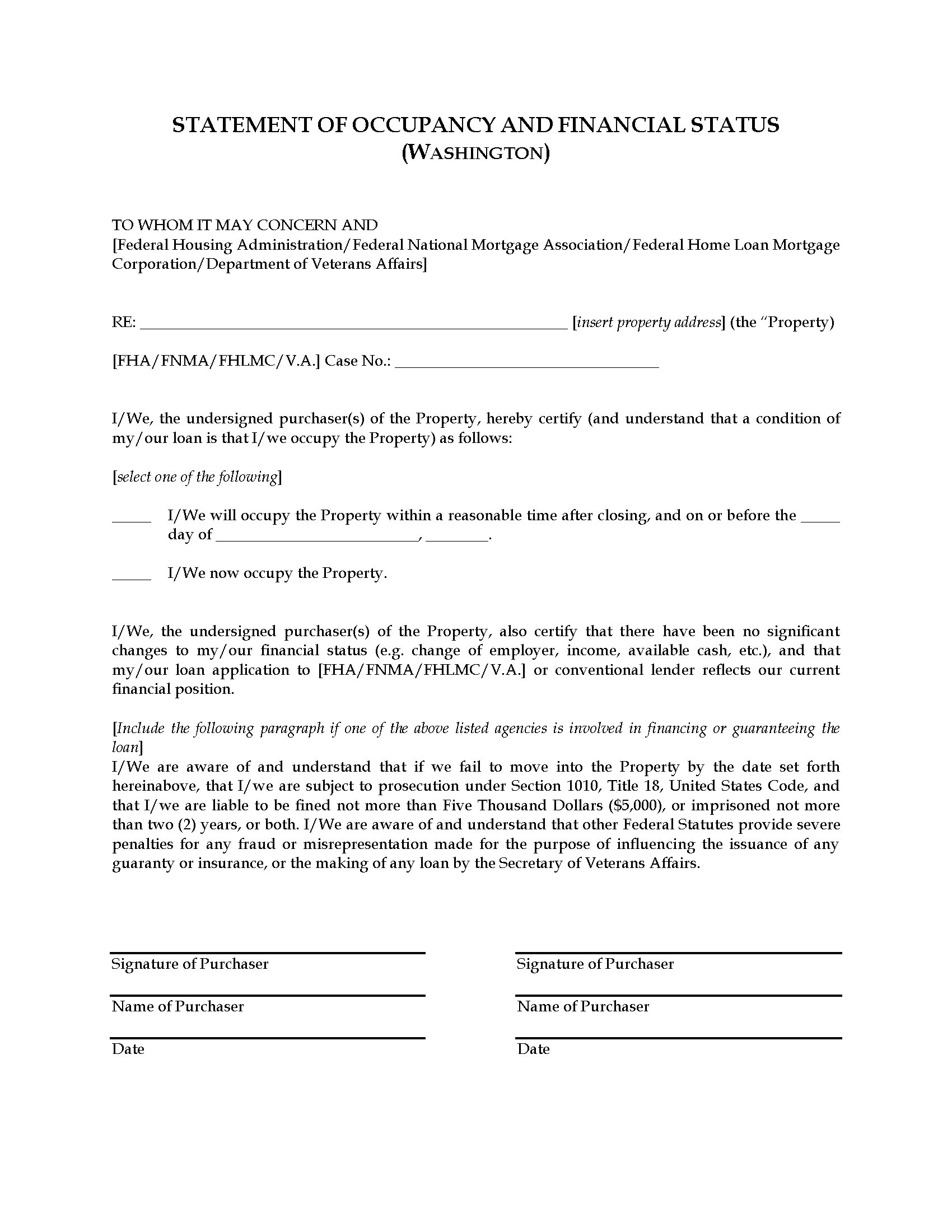 Washington Statement Of Occupancy Legal Forms And