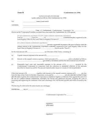 Picture of Ontario Notice of Lien to Condominium Owner