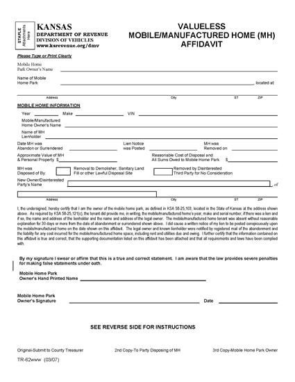 Picture of Kansas Valueless Mobile / Manufactured Home Affidavit