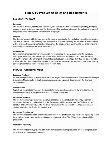 Picture of Guide to Film & TV Production Department Roles