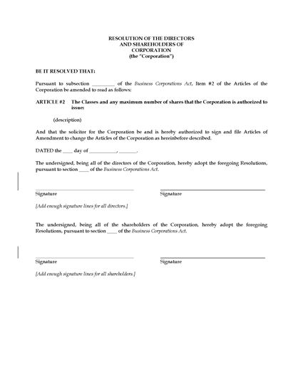 Picture of Corporate Resolution to Amend Share Structure   Canada