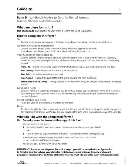 Picture of Nova Scotia Notice to Quit for Rental Arrears