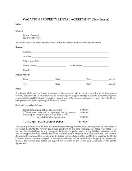 Picture of New Jersey Vacation Property Rental Agreement