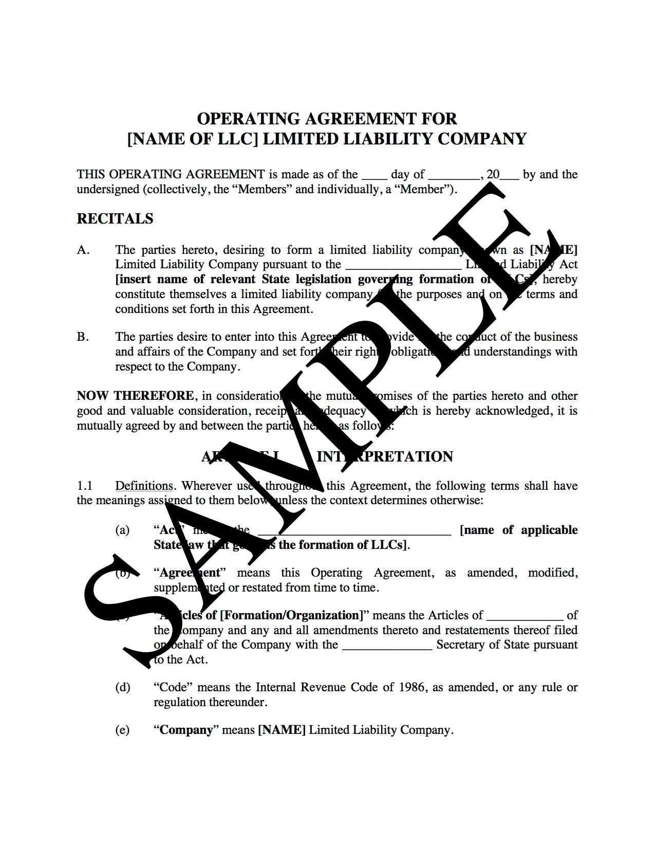 Picture Of LLC Operating Agreement For Real Estate | USA
