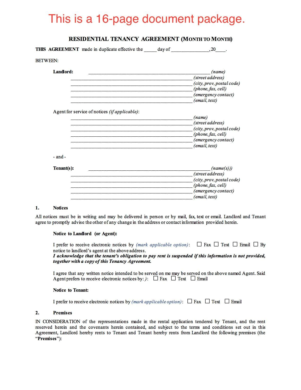 landlords contract template - saskatchewan residential tenancy agreement month to month