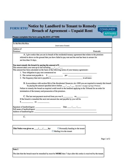 Picture of Northern Territory Notice to Remedy Unpaid Rent