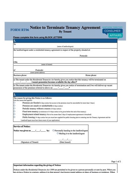 Picture of Northern Territory Notice to Terminate Tenancy Agreement by Tenant