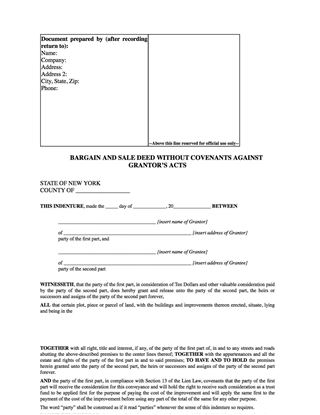Picture of New York Bargain and Sale Deed Without Covenants