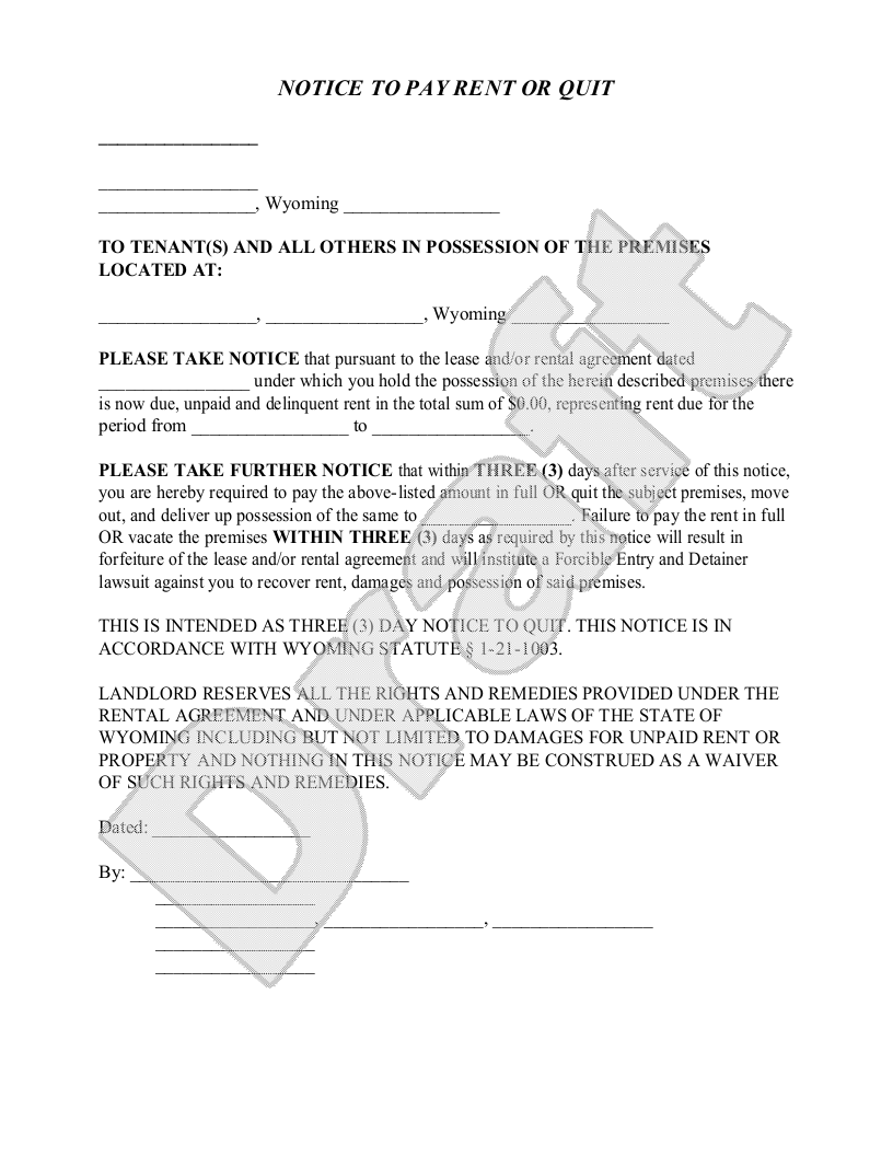 wyoming notice to pay rent or quit legal forms and business