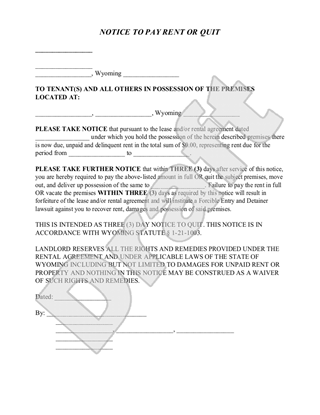 WY notice to pay rent or quit