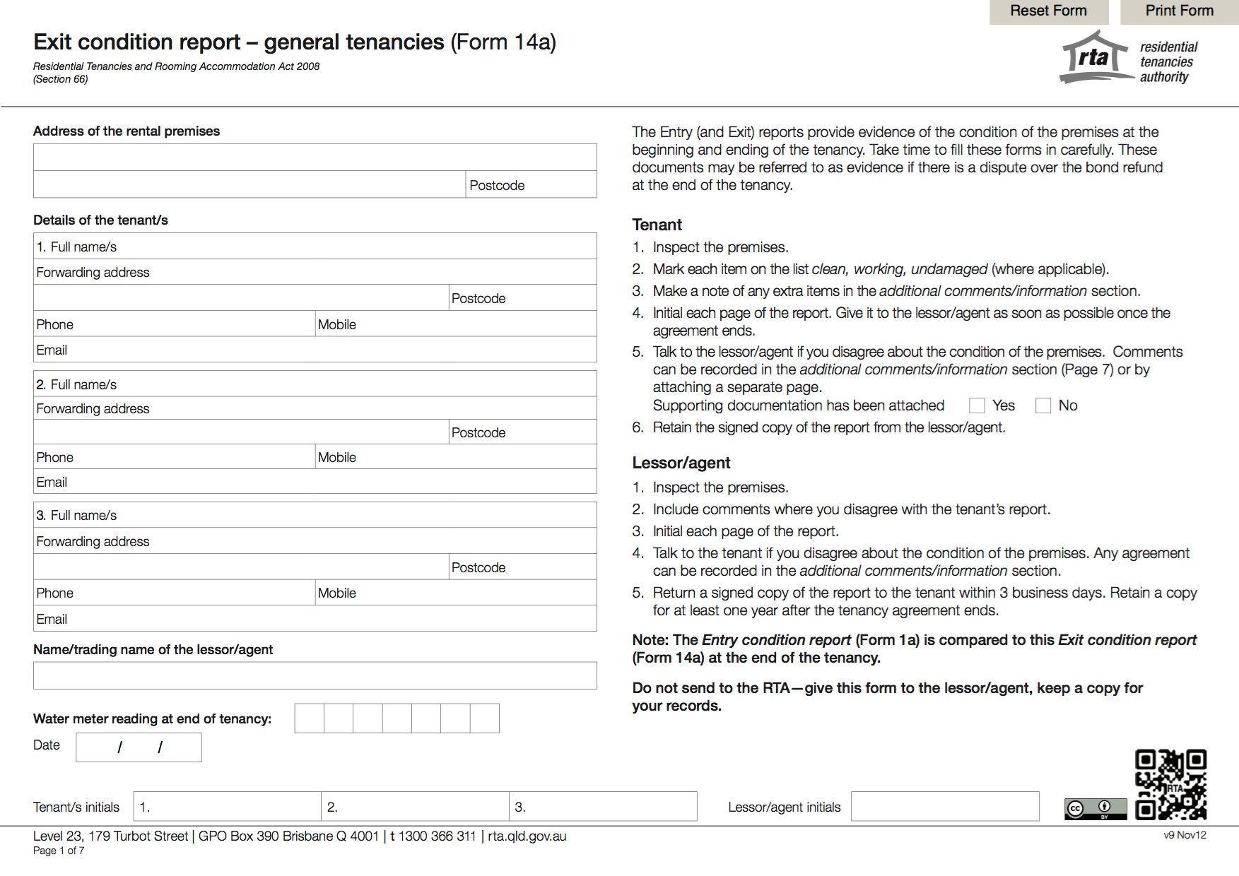 Queensland Exit Condition Report General Tenancies Legal Forms